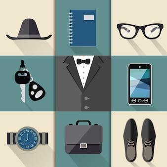 Colección de elementos de hombre de negocios