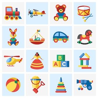 Colección de elementos de juguetes