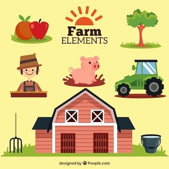 Colección de elementos de la granja bonitos