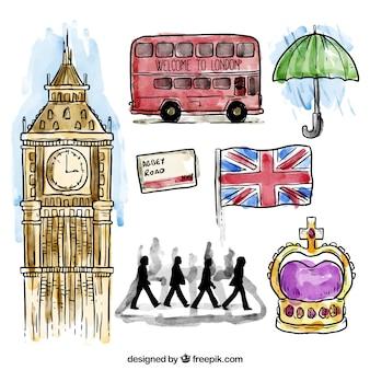 Colección de elementos de Londres en acuarela