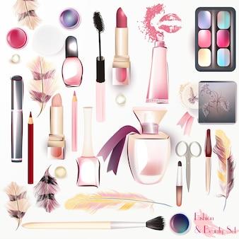 Colección de elementos de maquillaje a color