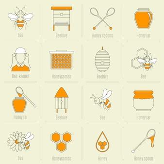 Colección de elementos de miel