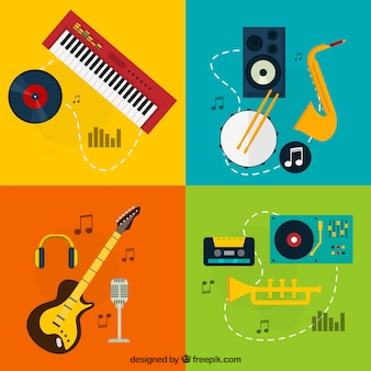 Colección de elementos de música de colores