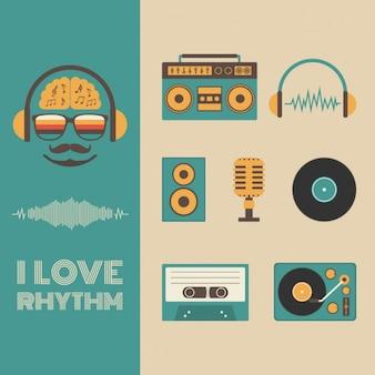 Colección de elementos de música