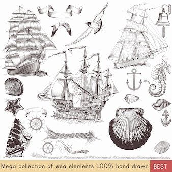 Colección de elementos de navegación vintage