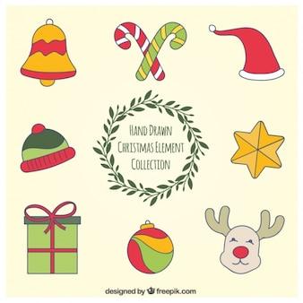Colección de elementos de navidad dibujados a mano