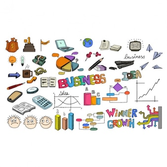 Colección de elementos de negocio de coloridos