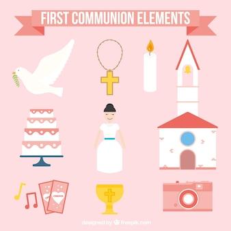 Colección de elementos de niña de primera comunión