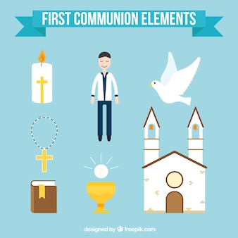 Colección de elementos de niño de primera comunión