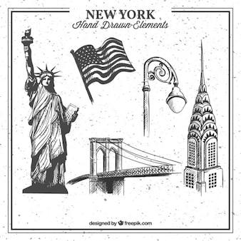 Colección de elementos de Nueva York dibujado a mano