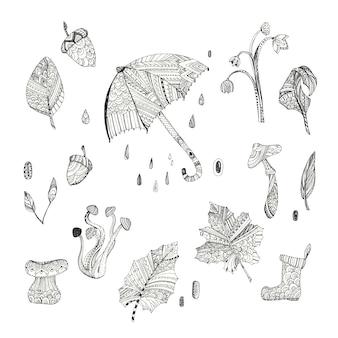 Colección de elementos de otoño con diseño de patrón