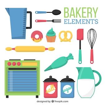 Colección de elementos de panadería en diseño plano