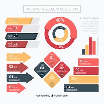 Colección de elementos de pasos infográficos