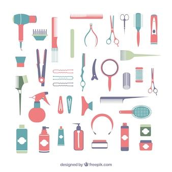 Colección de elementos de peluquería