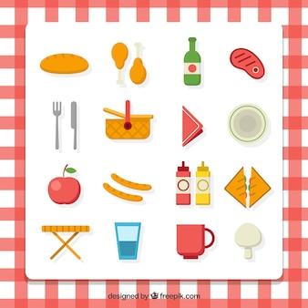 Colección de elementos de picnic planos