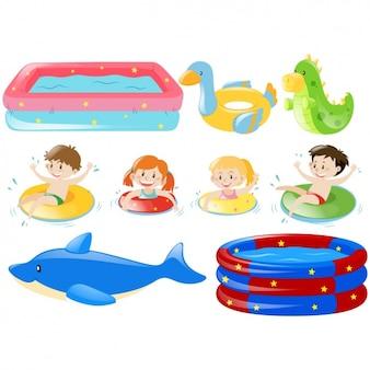 Colección de elementos de piscina