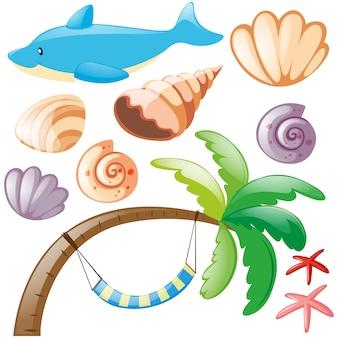 Colección de elementos de playa
