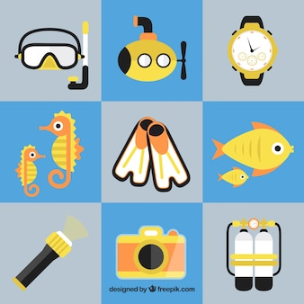 Colección de elementos de submarinismo en diseño plano