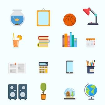 Colección de elementos de trabajo y entretenimiento