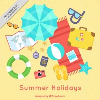 Colección de elementos de vacaciones en la playa