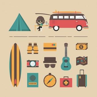 Colección de elementos de vacaciones