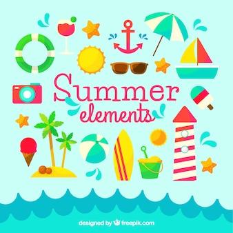 Colección de elementos de verano en diseño plano