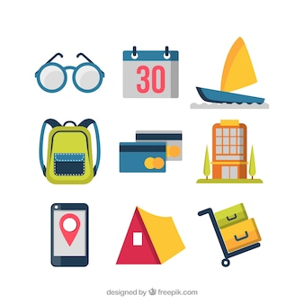Colección de elementos de viaje con diseño plano