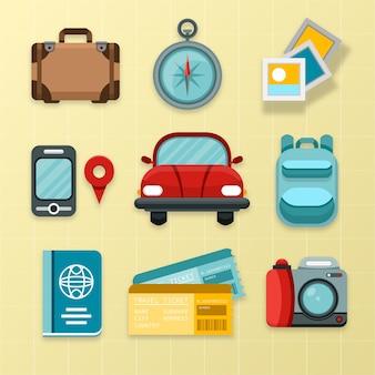 Colección de elementos de viaje de diseño plano