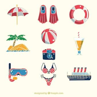 Colección de elementos de viaje de verano dibujados a mano