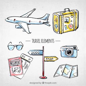 Colección de elementos de viaje dibujados a mano / acuarela