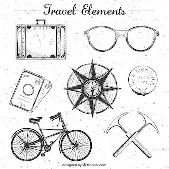 Colección de elementos de viaje dibujados a mano