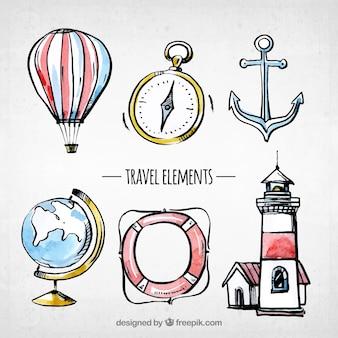 Colección de elementos de viaje en acuarela