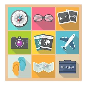 Colección de elementos de viaje en diseño plano