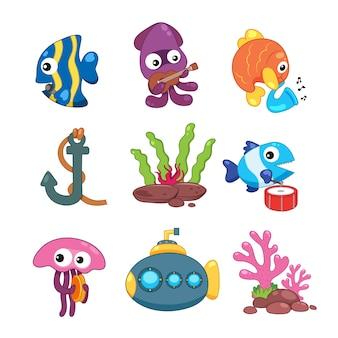 Colección de elementos de vida marina