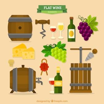 Colección de elementos de vino con barriles en diseño plano