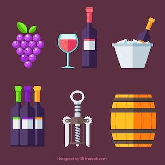 Colección de elementos de vino en estilo plano