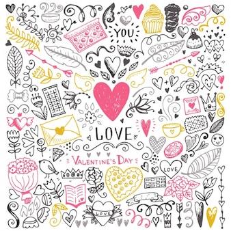 Colección de elementos decorativos de amor