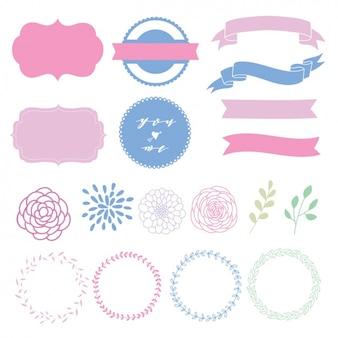 Colección de elementos decorativos