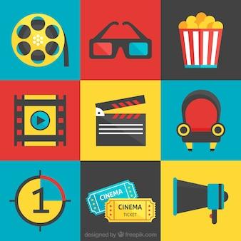 Colección de elementos del cine planas