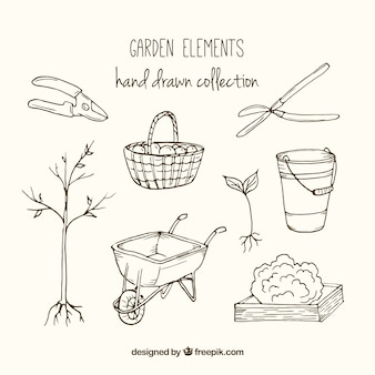 Colección de elementos del jardín dibujados a mano
