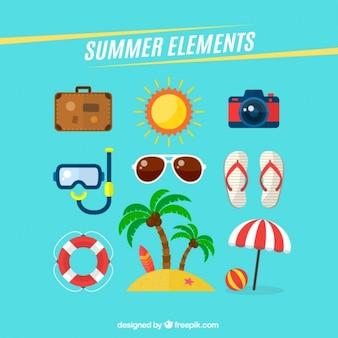 Colección de elementos del verano