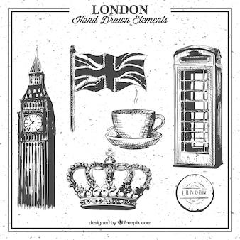 Colección de elementos dibujados a mano de Londres