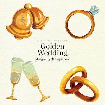 Colección de elementos dorados de boda