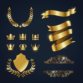 Colección de elementos dorados