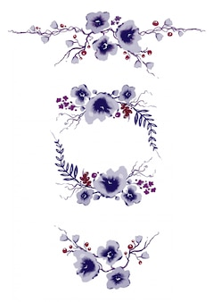 Colección de elementos florales morados