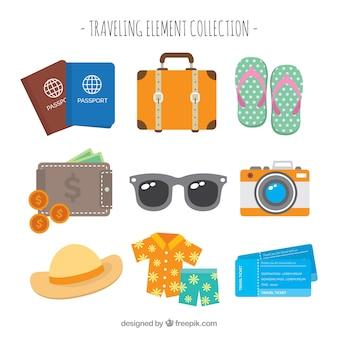 Colección de elementos imprescindibles para viajar