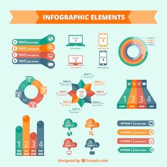 Colección de elementos infográficos en diseño plano