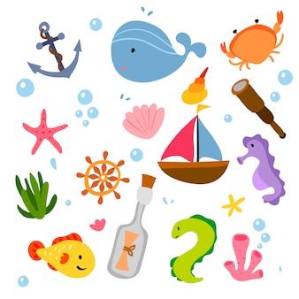 Colección de elementos marinos