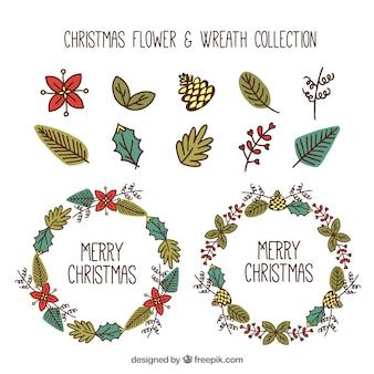 Colección de elementos naturales y coronas de navidad dibujadas a mano
