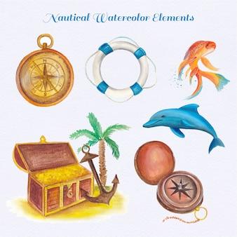 Colección de elementos nauticos